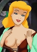Cinderella has sex with the mice. She shows them her full breasts and they are quickly turned on!